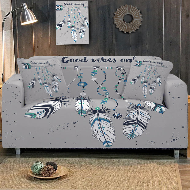 Good Vibes Only Blue Sofa Cover