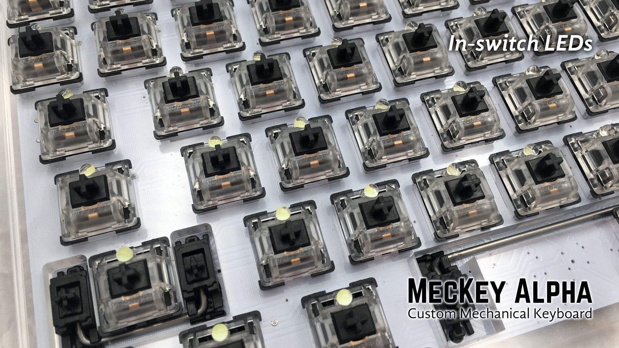 MecKey Alpha 98 Layout Acrylic Mechanical Keyboard Gateron Black Switches Left View