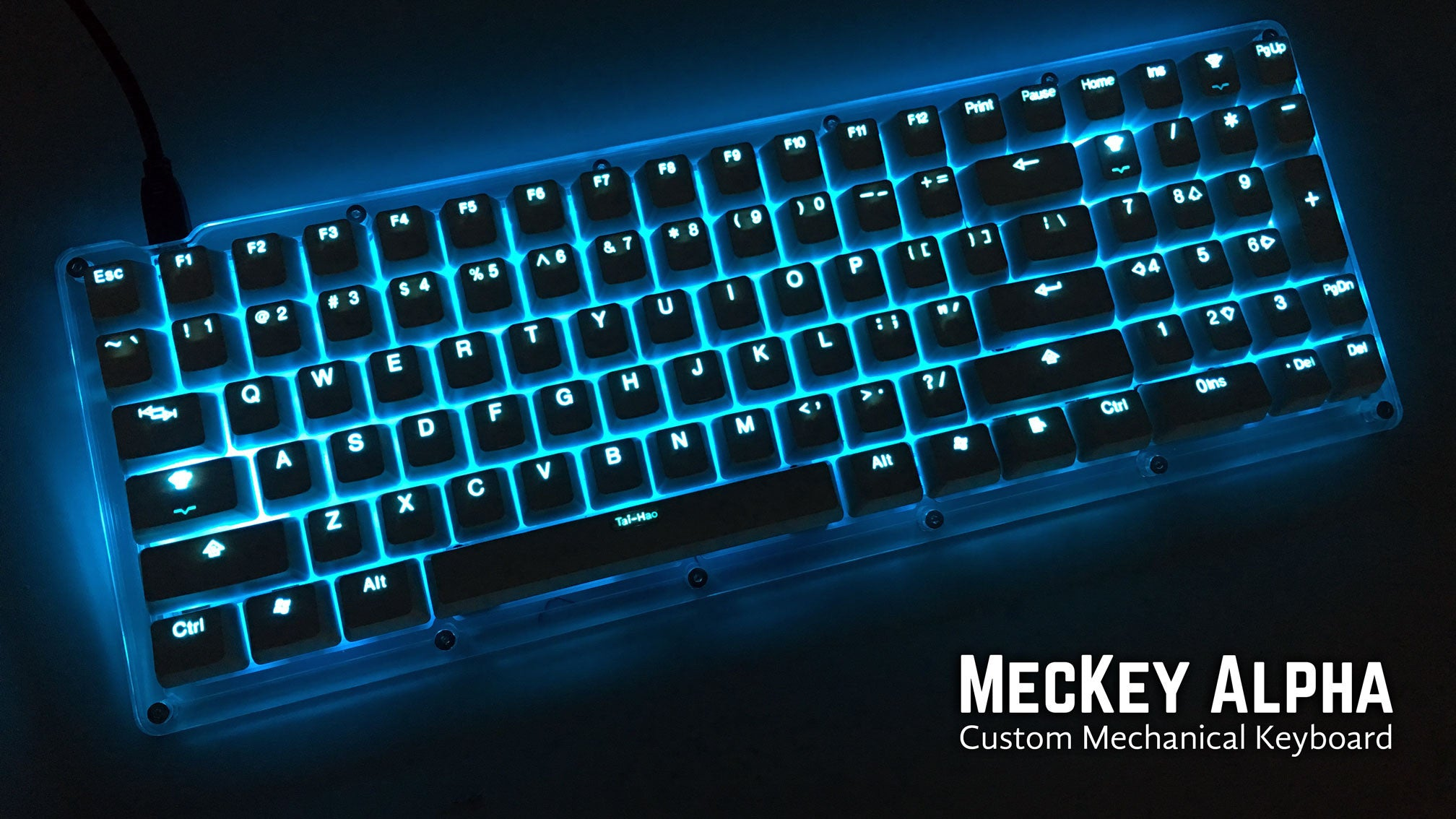 MecKey Alpha 98 Layout Acrylic Mechanical Keyboard Gateron Black Switches TaiHao Backlit Doubleshot Keycaps Display View