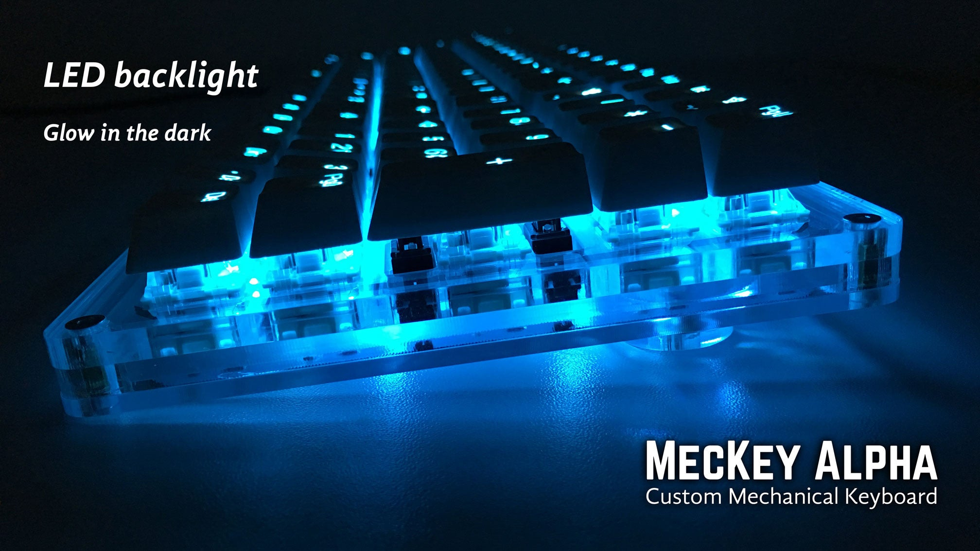 MecKey Alpha 98 Layout Acrylic Mechanical Keyboard Gateron Black Switches TaiHao Backlit Doubleshot Keycaps Side View