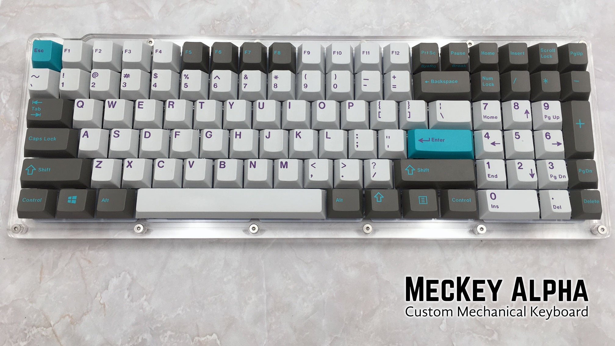 MecKey Alpha 98 Layout Acrylic Mechanical Keyboard Gateron Switches Hyperfuse GMK Display View