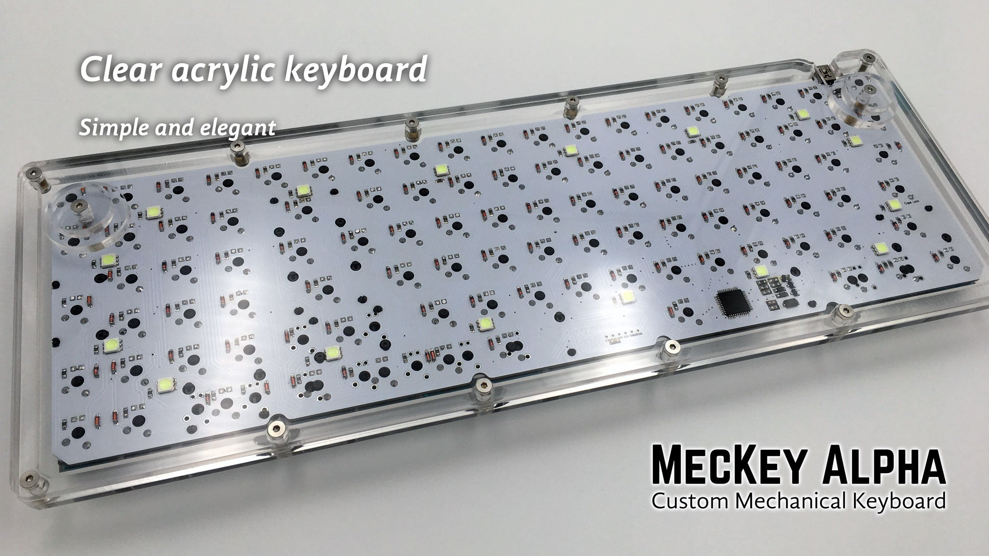 MecKey Alpha 98 Layout Acrylic Mechanical Keyboard Gateron Switches Hyperfuse GMK Rear View