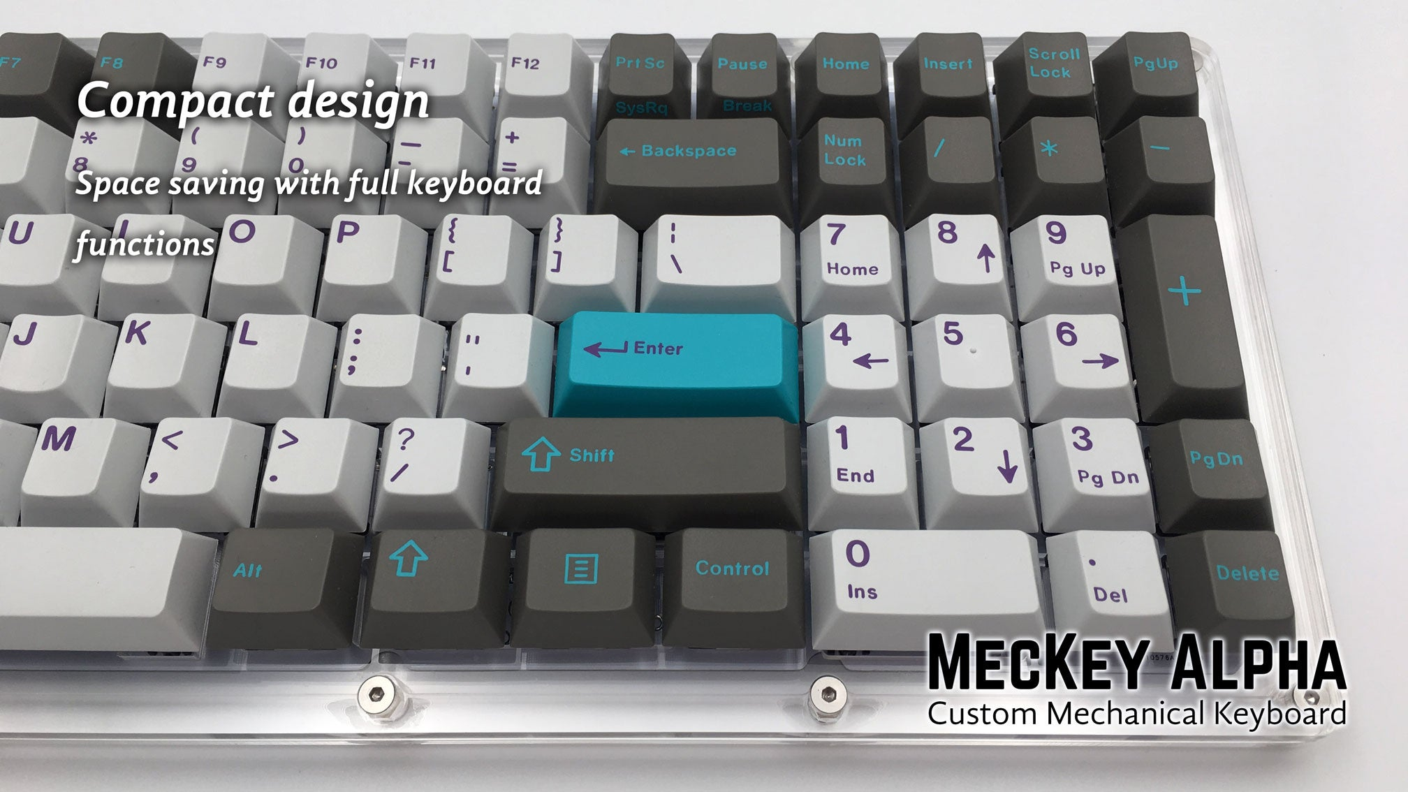 MecKey Alpha 98 Layout Acrylic Mechanical Keyboard Gateron Switches Hyperfuse GMK Right View