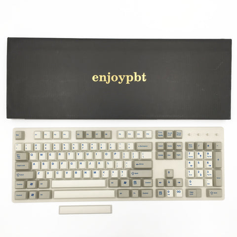 enjoypbt dye sublimation pbt keycap set beige blue font box set