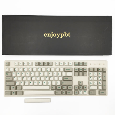 enjoypbt dye sublimation pbt keycap set beige green font box set