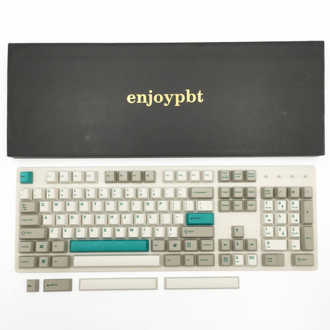 MecKey Alpha enjoypbt dye sublimation keycap green font with extra keycaps box set