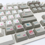 enjoypbt dye sublimation keycap set beige japanese font sushi key