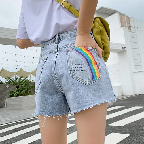 Painted Pocket Denim Shorts