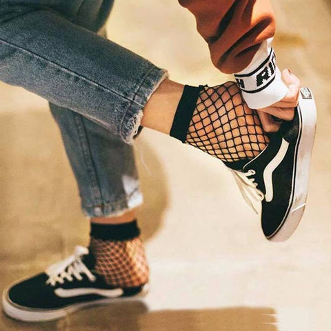 Harajuku Fishnet Bow Socks