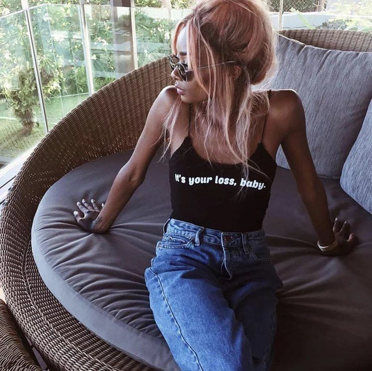 Its Your Loss Baby Spaghetti Crop Top Black, apparel - Hazy Lines
