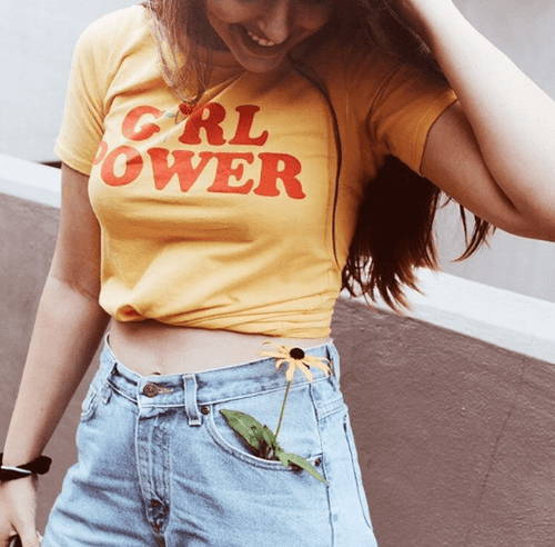 YELLOW GIRL POWER TEE, apparel - Hazy Lines