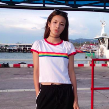 Rainbow Ringer Crop Top, apparel - Hazy Lines