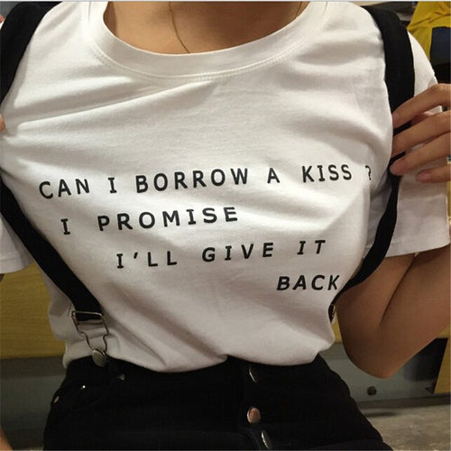 Can I Borrow A Kiss Tshirt, apparel - Hazy Lines