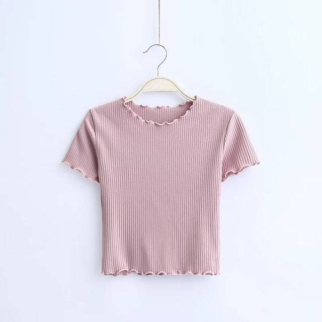 Ribbed Ruffle Trims Crop Top, apparel - Hazy Lines