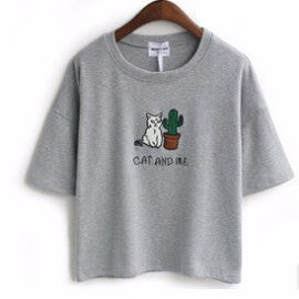 """Cat And Me"" Embroidery Tee, apparel - Hazy Lines"