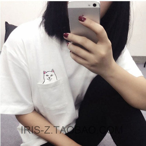 Cat In Pocket With Middle Finger Top, apparel - Hazy Lines