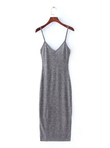 Ribbed V-Neck Side Split Dress, apparel - Hazy Lines