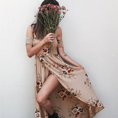 OFF SHOULDER FLORAL MAXI DRESS, apparel - Hazy Lines