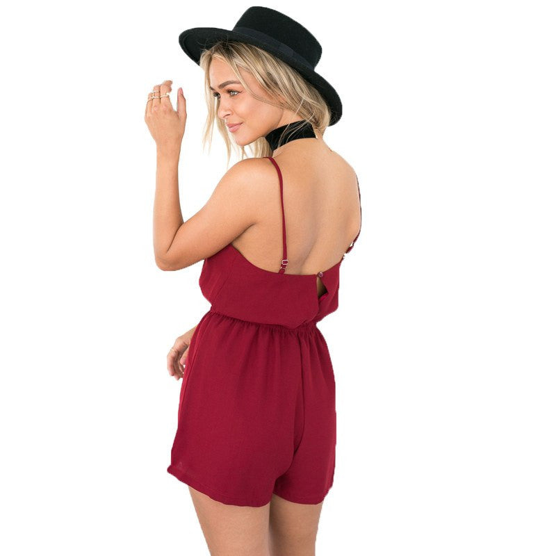 Cross Front Playsuit, apparel - Hazy Lines