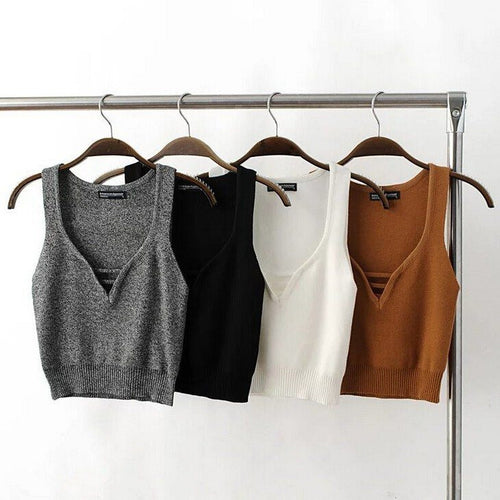 Knitted V Neck Crop, apparel - Hazy Lines
