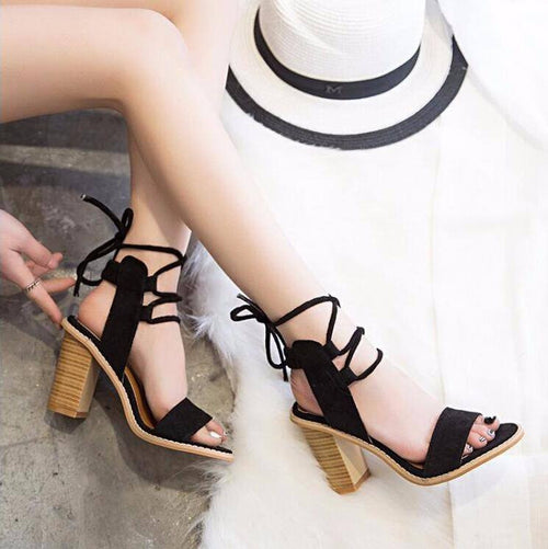 MID HEEL LACE UP SANDALS, apparel - Hazy Lines
