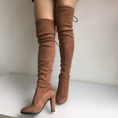 Suede Thigh High Boots, apparel - Hazy Lines