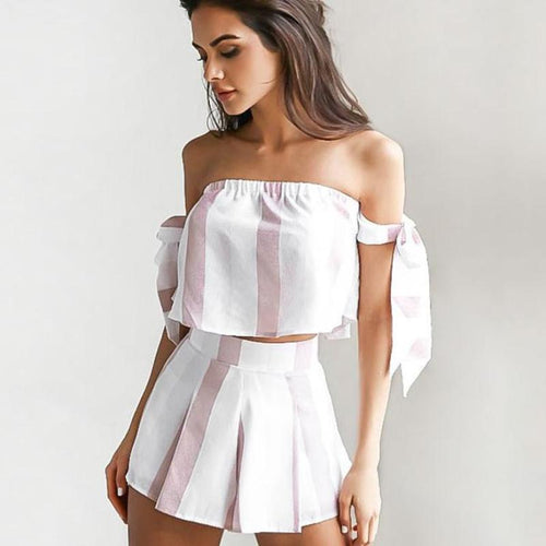 Two Piece Off the Shoulder Striped Set, apparel - Hazy Lines