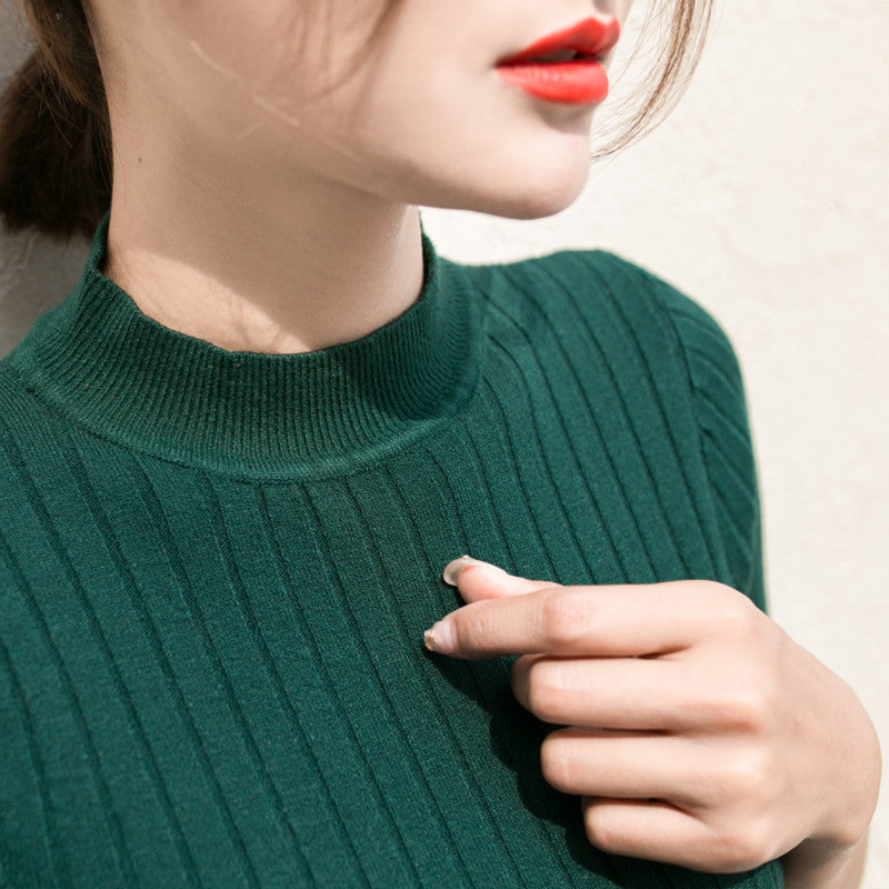 Half Sleeve Slim Turtleneck Sweater, apparel - Hazy Lines