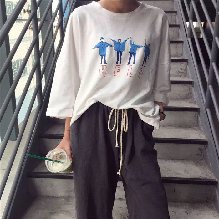 Loose Korean Style Help Tee, apparel - Hazy Lines