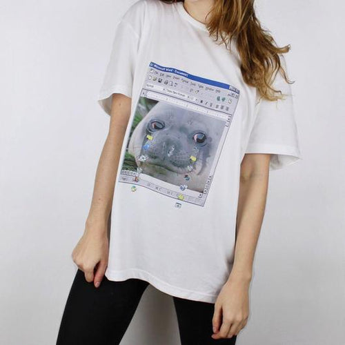 Crying Seal Meme Print Tee