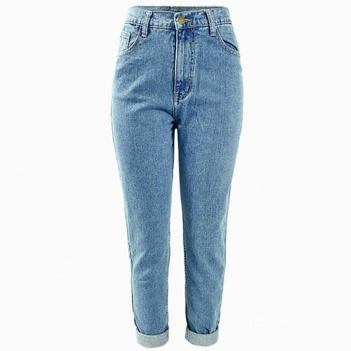 High Waisted Boyfriend Denim Jeans, apparel - Hazy Lines