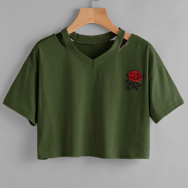 Embroidered Rose Crop, apparel - Hazy Lines