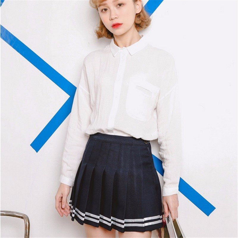 American High Waisted Plaid Skirt, apparel - Hazy Lines