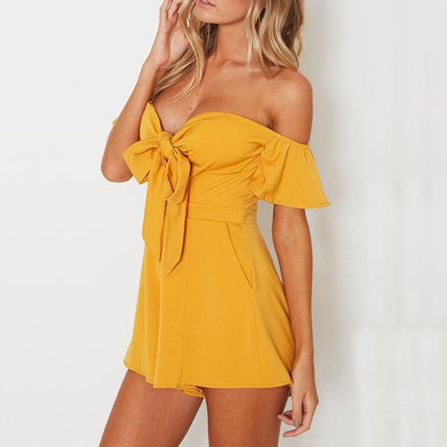 Off the Shoulder Flare Sleeve Bow Playsuit