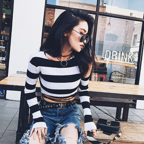 Open Shoulder Striped Top, apparel - Hazy Lines
