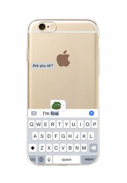 Are You Ok Im Fine Meme iPhone Case, accessory - Hazy Lines