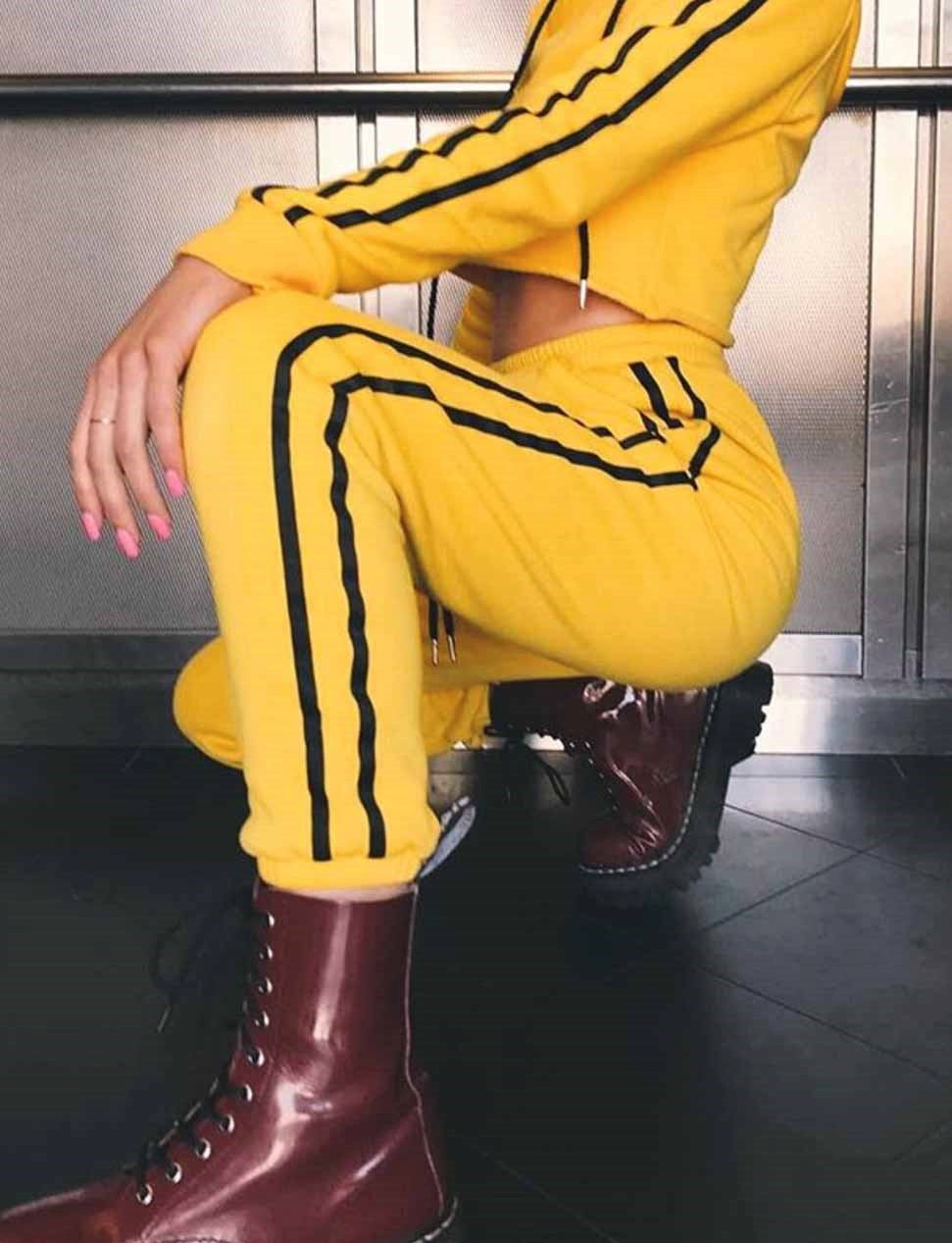 2 Piece Yellow Crop Sweater And Tracksuit Pants, apparel - Hazy Lines