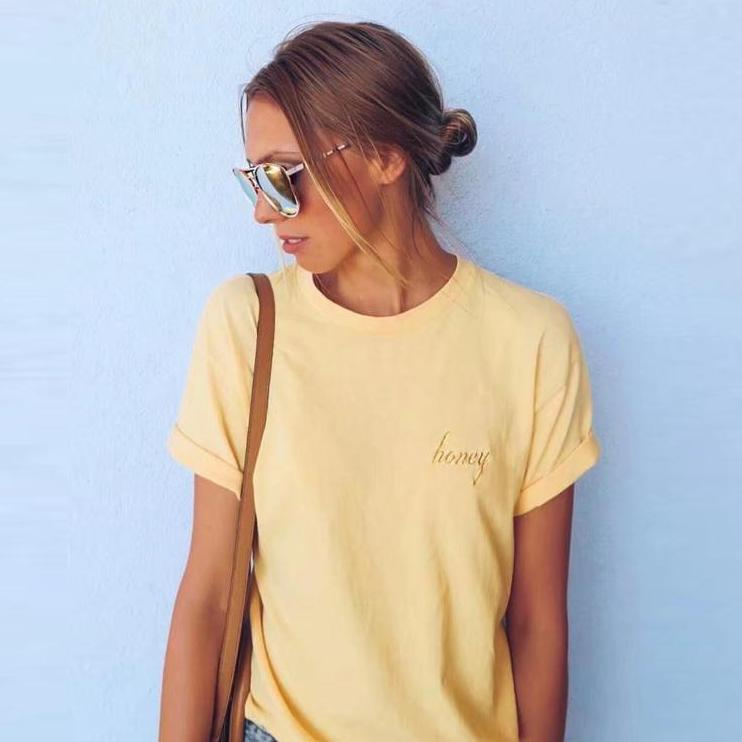 Embroidered Honey Tee, apparel - Hazy Lines
