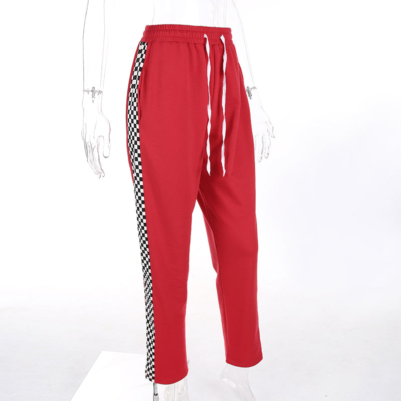 Red Side Checkered Pants, apparel - Hazy Lines