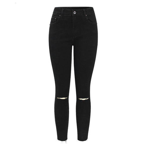 Black High Waisted Ripped Denim Jeans, apparel - Hazy Lines