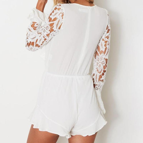 Deep V Neck Lace Romper, apparel - Hazy Lines