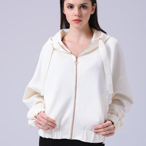 Crop Hooded Bomber Jacket, apparel - Hazy Lines