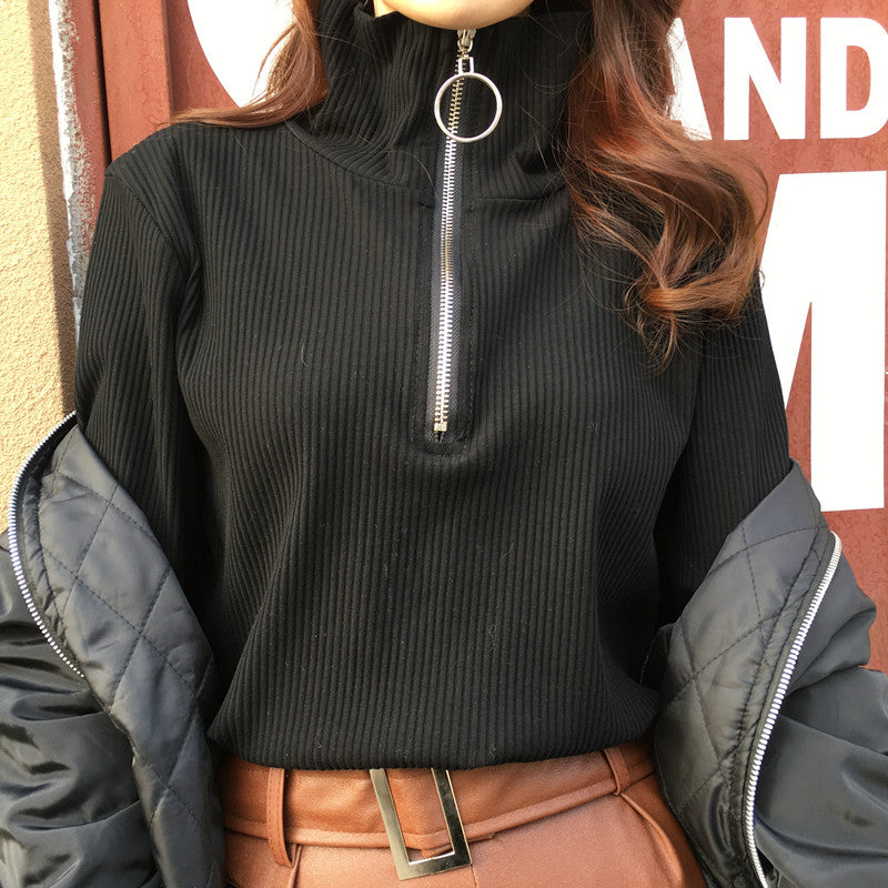 Corduroy Zip Up Turtleneck