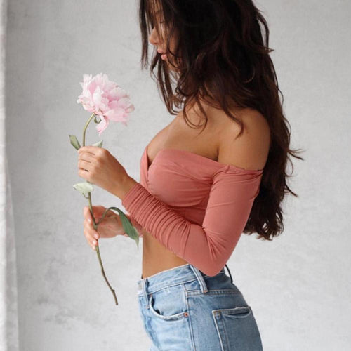 Off the Shoulder Strapless Crop Top, apparel - Hazy Lines