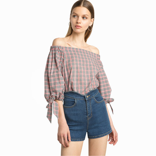 Off Shoulder Plaid Top