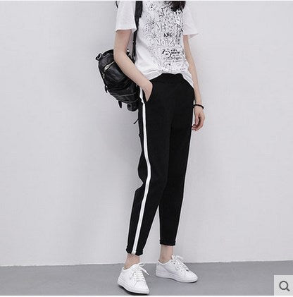 High Waist Striped Harem Pants, apparel - Hazy Lines