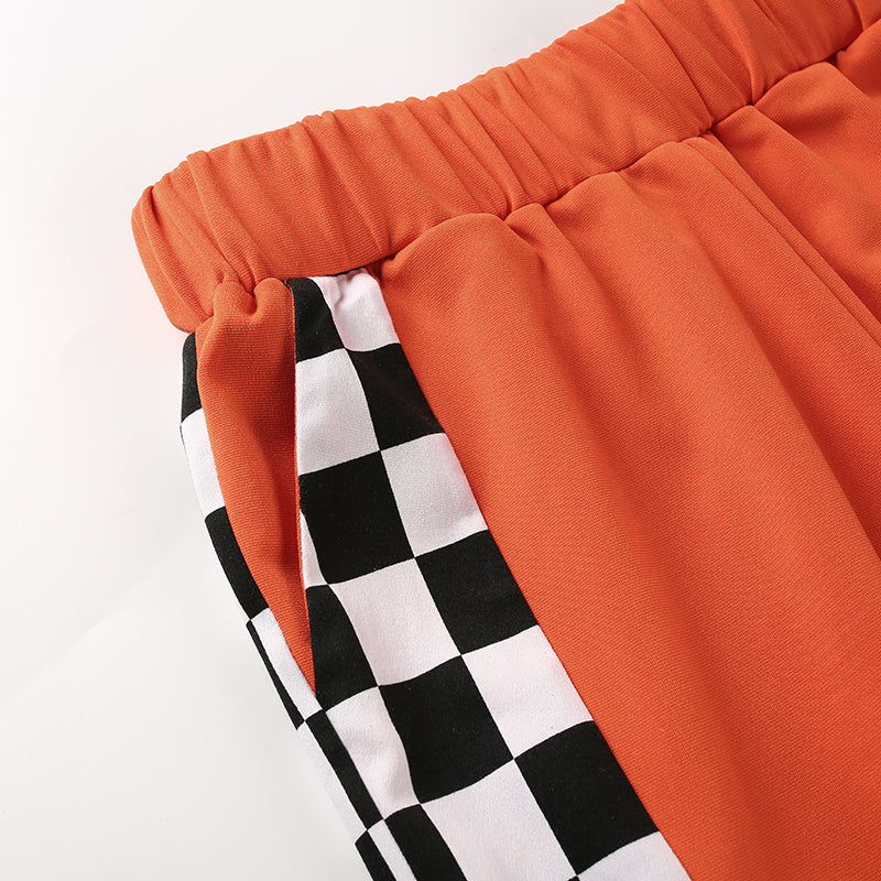 Orange Checkered Sweatpants, apparel - Hazy Lines