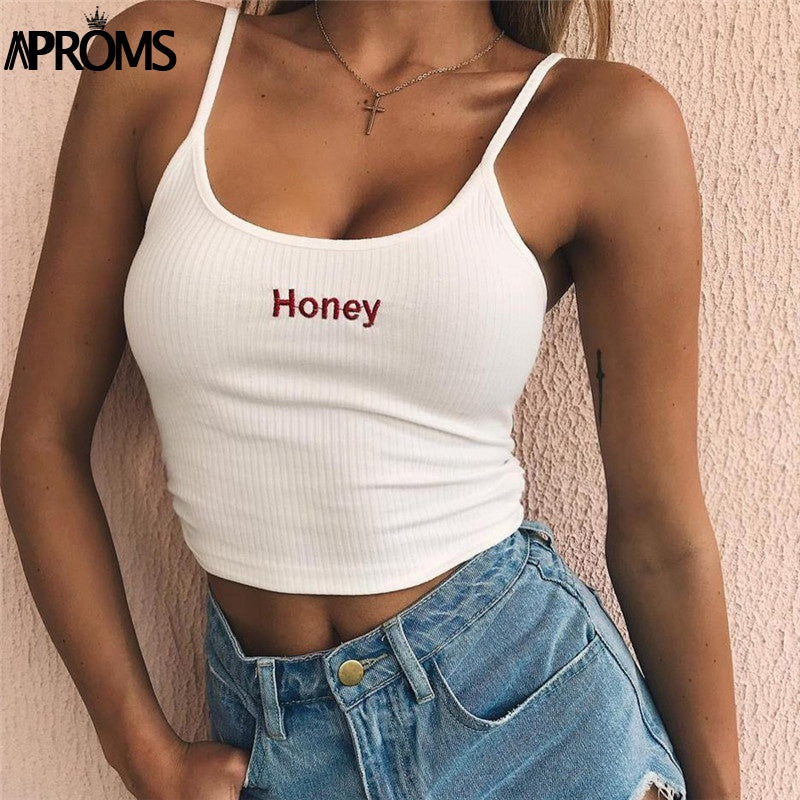 Honey Embroidered Ribbed Crop, apparel - Hazy Lines