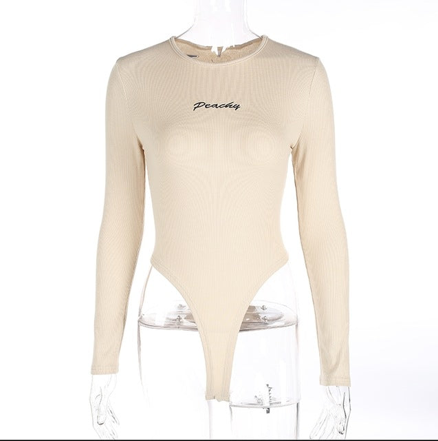Peachy Embroidered Long Sleeve Bodysuit, apparel - Hazy Lines