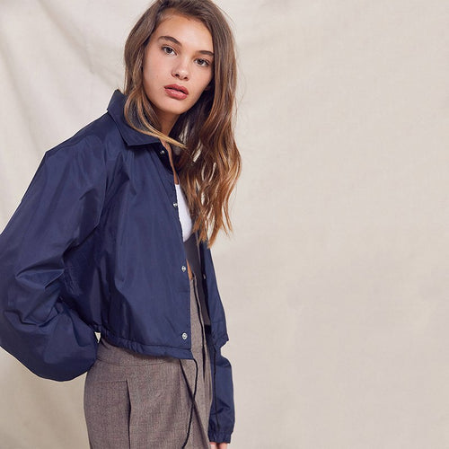 Button Up Cropped Windbreaker